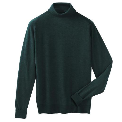 Fijner bestaat niet. Deze merino-pullover van John Smedley weegt minder dan 300 gram. En past in iedere aktetas.