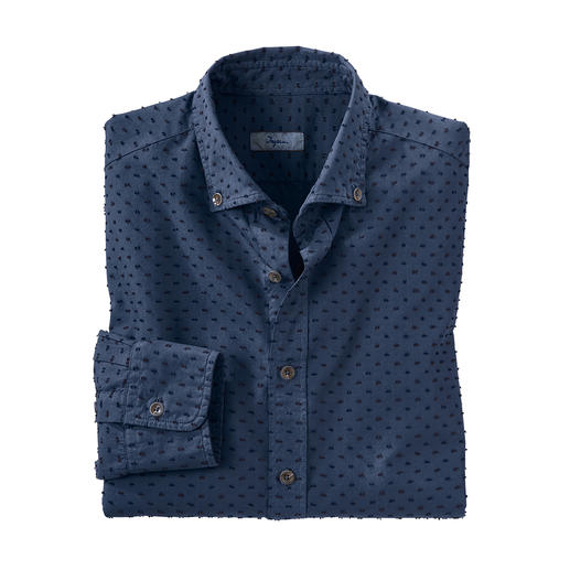 Ingram overhemd met 3D-stippen Gemaakt met behulp van een bijzonder shearing-procedé. Van de Italiaanse overhemdenspecialist Ingram.