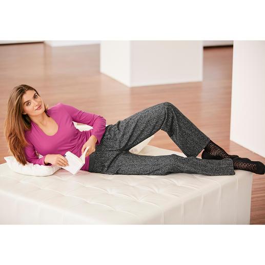 Michèle salt& pepper-broek Comfortabel voor thuis. Ideaal voor kantoor. Elegant voor een avondje uit. En altijd in optima forma.