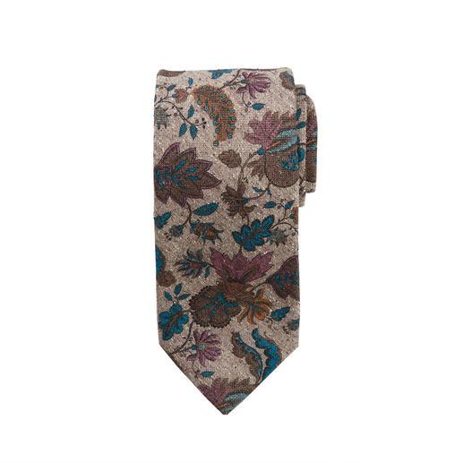 Ascot tweed-stropdas  met bloemenprint - Bloemenprint op zijde-tweed: zowel het dessin als het materiaal maken deze stropdas zo boeiend.