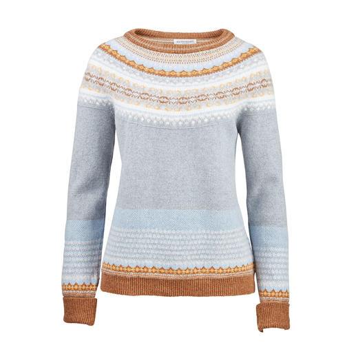 6-kleurige Fair-Isle-trui Kunstige en exclusieve  Fair-Isle-jacquard, samengesteld uit 6 modieuze kleuren. Van Eribé, Schotland.