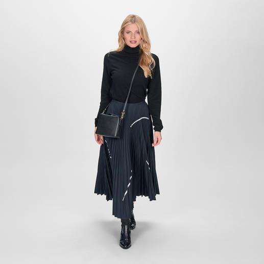 Smarteez plissérok - Trendy midi-lengte. Chique kostuumstof. Geraffineerd changerend effect. Sportieve zilverkleurige accenten.