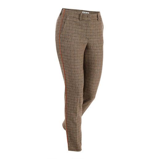 New check pants - Heeft een modieuze boost gekregen door de nieuwe weefstructuur en de oranje strepen opzij.