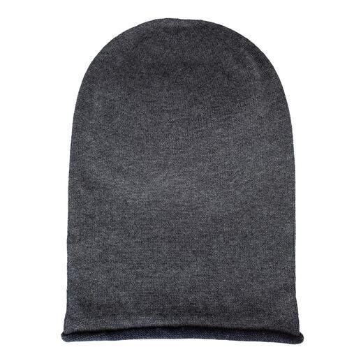 Seldom seamless muts aan 2 kanten te dragen Gewoon omkeren: effen blauw van merinoswol of grijs mêlee van Giza-katoen. Eén muts – twee eigentijdse looks.