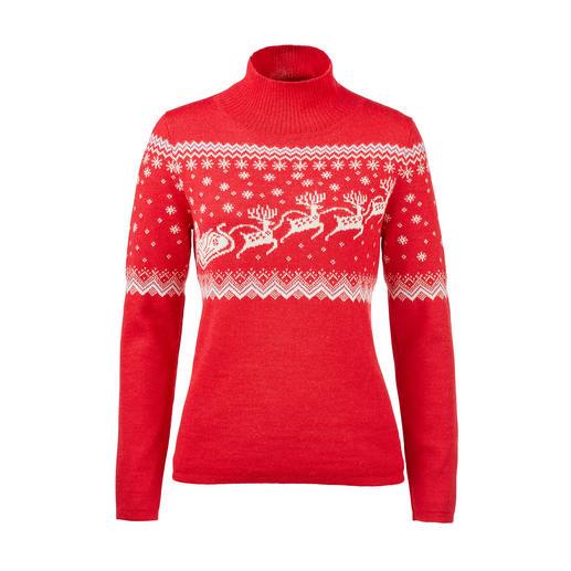 Exclusieve creatie van het fijnste baby-alpaca: Noorse kersttrui. Heerlijk zacht. Verrassend robuust. Kunstig jacquardbreisel.