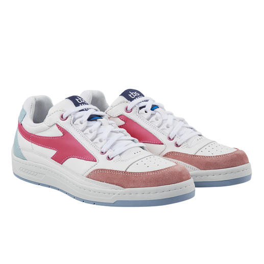 TBS wasbare leren sneakers voor dames Deze klassieke helderen leren sneakers kunnen gewoon in de machine gewassen worden. Van TBS.