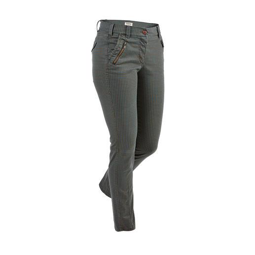 Geruite skinny-jeans  van Recover Stijlvolle ruiten in gedekte trendtinten. Volwassen model met band die aan de achterkant hoger is verwerkt.