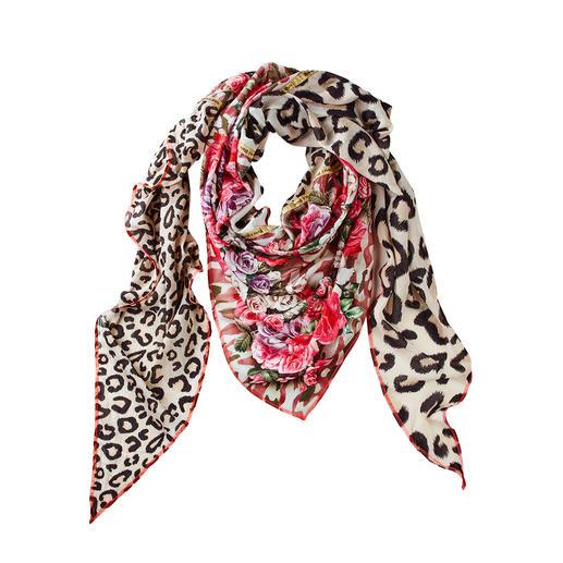 Plomo o Plata driehoekige XXL-sjaal Luipaardprint, bloemen & camouflage: deze driehoekige XXL-sjaal combineert alle belangrijke motieventrends.