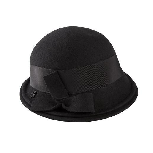 Zo elegant kan een weerbestendige hoed zijn. Elegant clochemodel. Zacht merinovilt. Stijlvol zwart. Made in France, van Céline Robert.