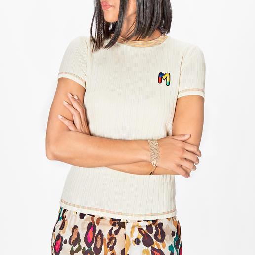 M Missoni basic gebreid shirt Superfijn ribbreisel, frisse kleuraccenten en met de hand gebreid logo.