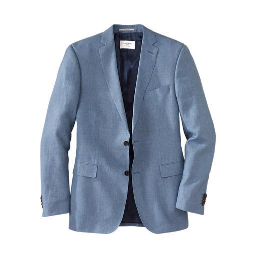 Zeer verzorgd businesspak voor de zomer – dankzij de chique linnen stof van Loro Piana. Met een optimale pasvorm door de individuele maten van colbert en pantalon.