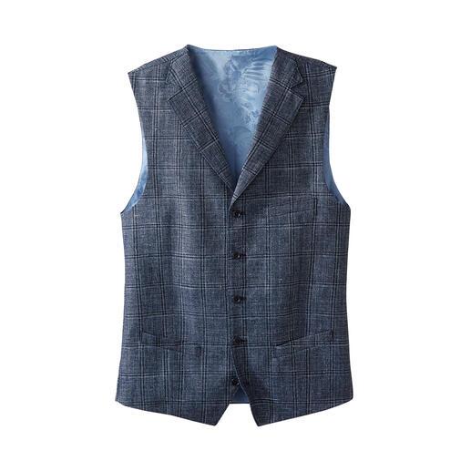 Carl Gross gilet Dit stijlvolle, zomers lichte gilet van linnen en scheerwol is het perfecte alternatief.