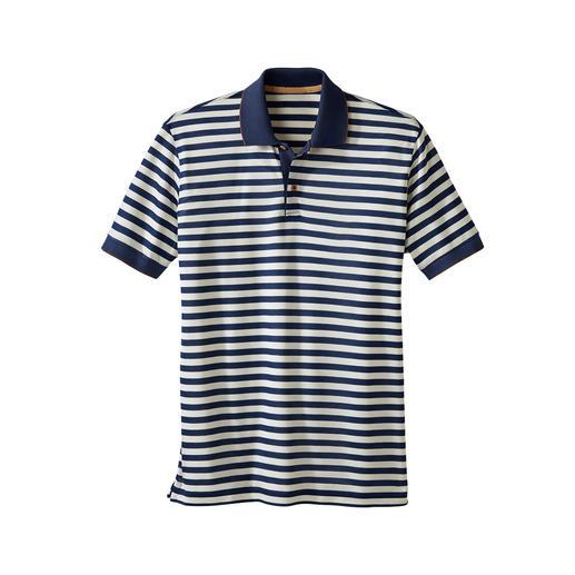 Piqué-poloshirt met strepen Piquéshirt dat zich onderscheidt door de zijdezachte kwaliteit. Soepelvallend, verkoelend.