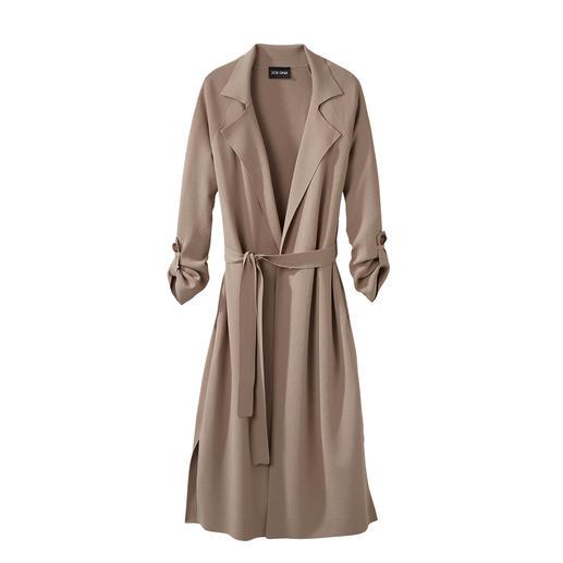 Modieus juweeltje: lange trenchcoat van het trendy knitwear-merk ZOE ONA. Klassieke trenchcoatdetails. Modern lang model. Soepel viscosebreisel. Sensationele prijs.