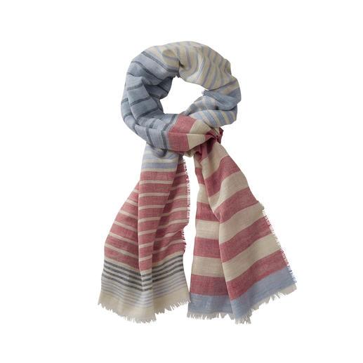 Lochcarron gestreept sjaal Goede prijs. Gestreept sjaal van wol, zijde en linnen. Van Lochcarron of Scotland.