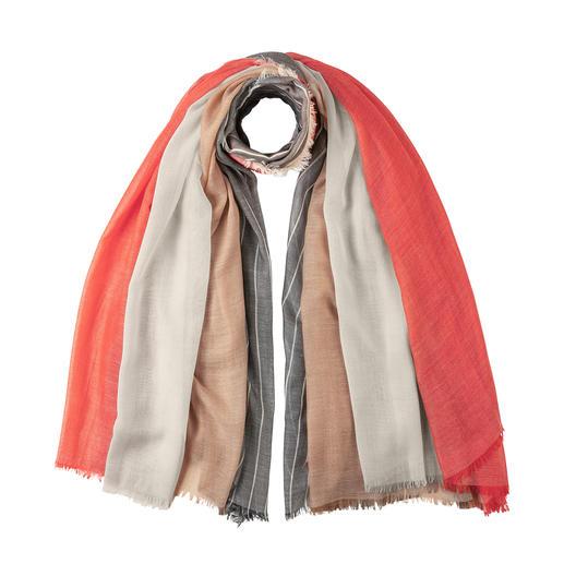 Vier sjaals in één. Alle van kasjmier. Vier sjaals in één. Alle van kasjmier. Artistieke designercreatie van Johnstons of Elgin, sinds 1797.