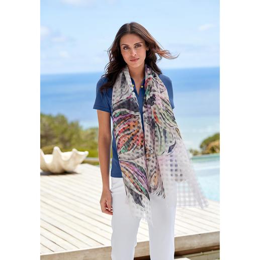 Sjaal met ruiten en bloemenprint