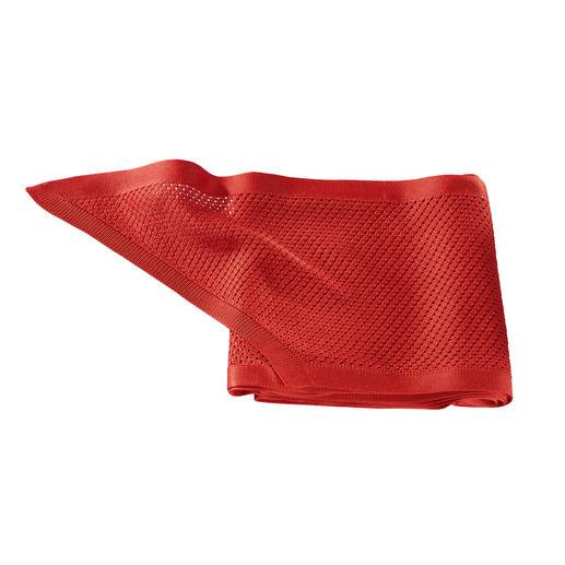 Sjaal van gebreide zijde Gebreid in plaats van geweven: zijde, maar dan heel casual. Daardoor bijzonder luchtig en nonchalant.