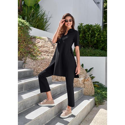 Sassenbach tuniek of bootcut-broek Zelden zag een eenvoudige outfit er zo bijzonder uit: clean ensemble van Italiaanse hightech-jersey.