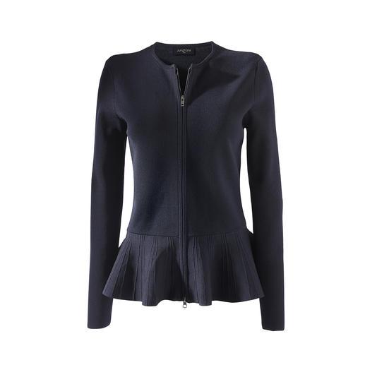De elegante look van een coutureblazer. Het comfort van een cardigan. De elegante look van een coutureblazer. Het comfort van een cardigan. Vest met peplum, van Junghans 1954.