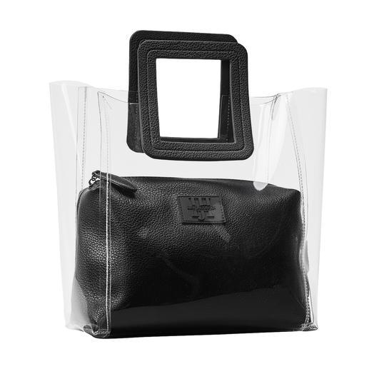Deens design met trendy transparantie: doorzichtige tas van Ilse Jacobsen. Nette look door 2-in-1-verwerking met uitneembare binnentas. Van Ilse Jacobsen.