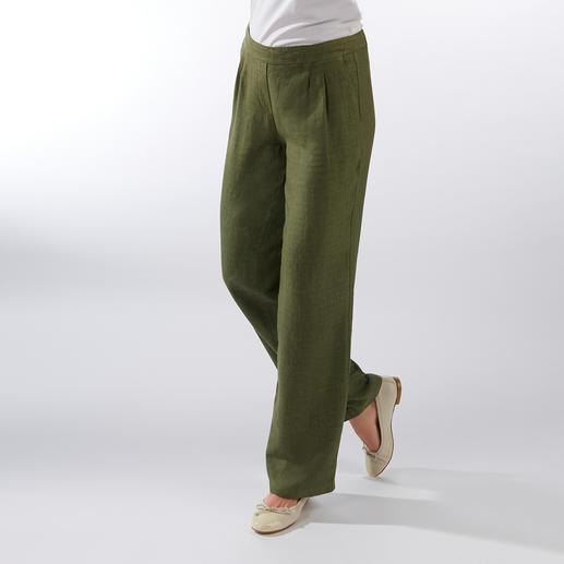 Linnen comfortbroek Puur linnen. Modieuze wijde pijpen. Comfortabele stretchband. Aantrekkelijk geprijsd.