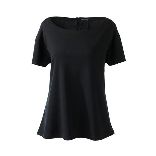 Casual jerseycombinatie of chique loungewear? Beide! Chic zwart. Zachte jersey. Eenvoudig, casual model. Mt bijpassende crossbody-tas. Van [schi]ess.