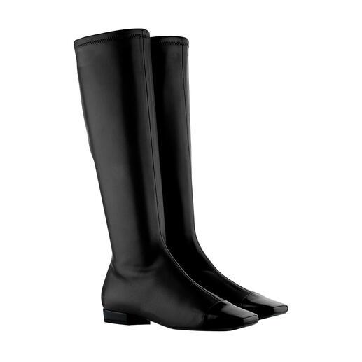 De stijlvolle en elegante onder de trendy lange laarzen. Van fluweelzacht stretchleer. Frans schoenenontwerp, made in Italy. Van L'Autre Chose.
