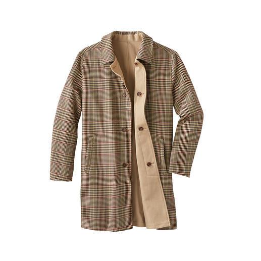Keerbare lange jas van katoen Tweezijdig te dragen: klassieke lange jas met twee mooie kanten. Vandaag tijdloos beige. Morgen pied-de-poule.