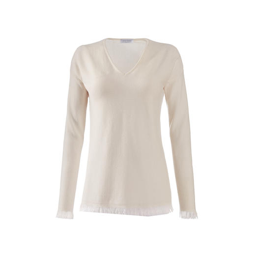 Gran Sasso trui met franje Truien met franje zijn momenteel heel modieus, maar zo elegant als dit model zijn er maar weinig.