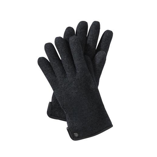 Veel zachter (en weerbestendiger) dan gebruikelijke wollen handschoenen – dankzij de fijne walkstof. Veel zachter (en weerbestendiger) dan gebruikelijke wollen handschoenen dankzij de fijne walkstof. Van Roeckl.