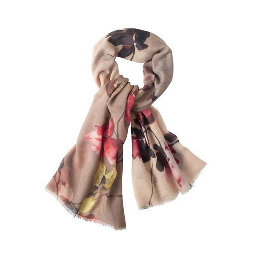 Gebloemde sjaal met metallic garen Trendy bloemenprint. Stijlvol glittereffect. Maar geen onaangenaam kriebelgevoel.