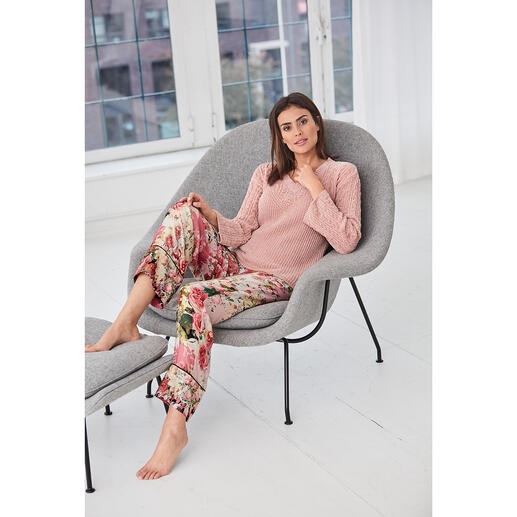 TWINSET loungewear-trui of -broek Kabelbreisel, chenille, statement-mouwen, bloemenprint, modieus model. Van TWINSET.