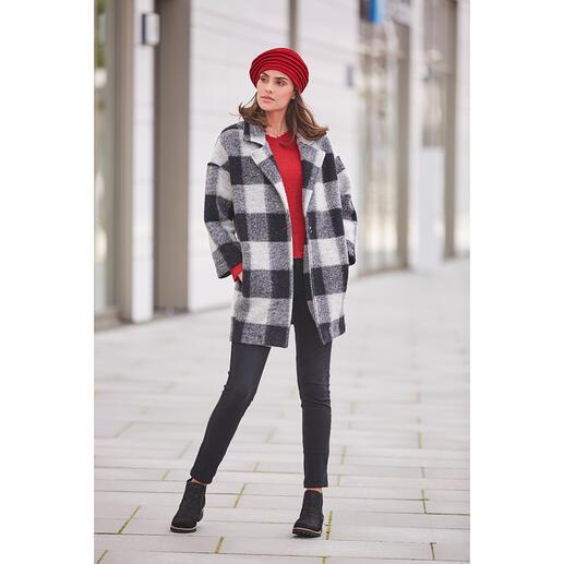 Geruite jas van La Fée Maraboutée Een klassieke look met modern comfort: de geruite wollen jersey jas met a-lijn.