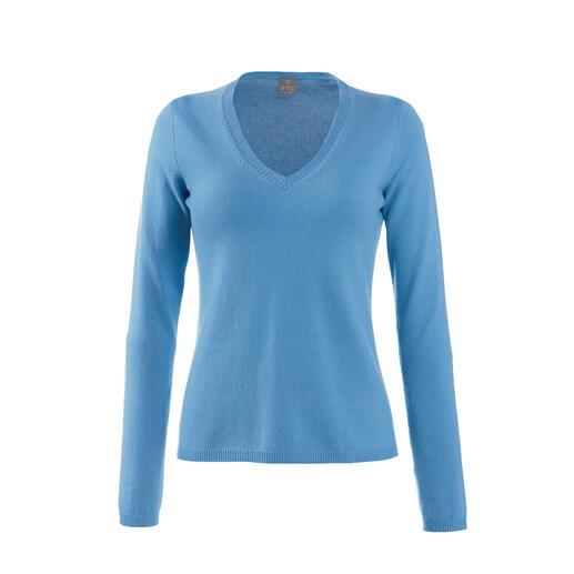 FTC kasjmieren coltrui en V-pullover Luchtig als een shirt. Maar van het fijnste donszachte kasjmier. Van de specialist Fair Trade Cashmere.
