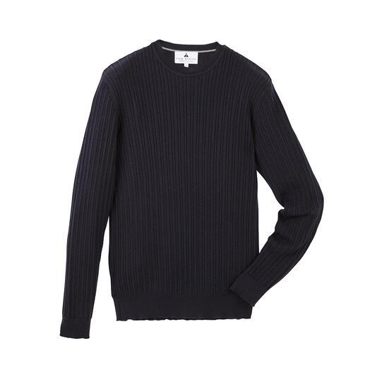 Tom Ripley kabeltrui Fijner en stijlvoller dan de gebruikelijke truien in kabelbreisel. En daarbij veel functioneler.