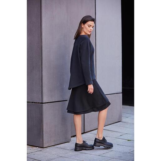 [schi]ess jerseyrok in laagjes-look of jerseysweater Chic zwart. Zachte jersey. Eenvoudig, casual model. Van [schi]ess.