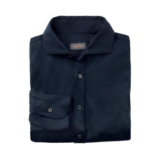 Edward Copper overhemd van wol-jersey Stijlvol als een zakelijk overhemd. Warm als een tricottrui. Comfortabel als een T-shirt.