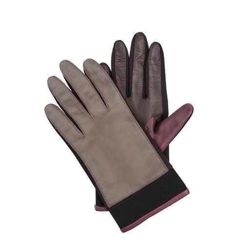 Otto Kessler handschoenen van lamsnappa-neopreen Inzetten van neopreen maken deze leren handschoenen veel flexibeler, de trendkleuren maken ze interessanter.
