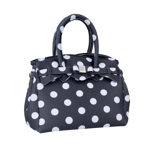 Superlichte tas, punten Klassieke look, innovatief materiaal: deze superlichte handtas weegt slechts 215 gram.