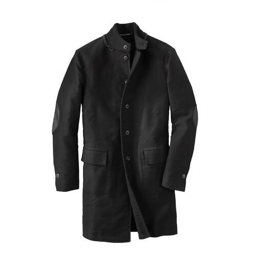 Hannes Roether mantel van Duits leer Deze jas is bijzonder slijtvast dankzij het traditionele Duitse leer. Tijdloos design en hoogwaardige afwerking.