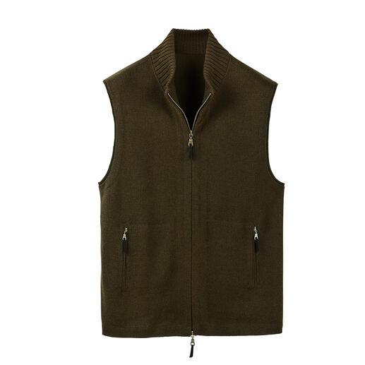 Mouwloos vest van alpaca-zijde Mouwloos vest made in Peru. Van warmteregulerende baby-alpaca en chique zijde.