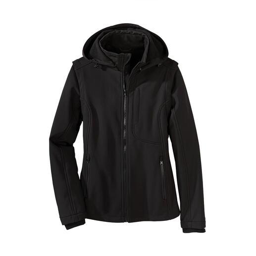 Softshell-jas Smal, licht en toch heerlijk warm. In een handomdraai wordt uw jack een lichte bodywarmer.