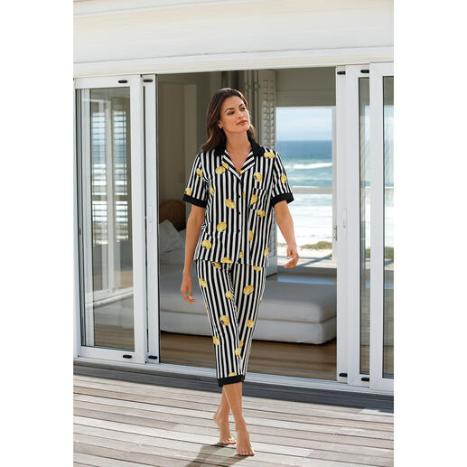 DKNY Lemon Stripe pyjama Pyjama van Donna Karan New York. Supertrendy highfashionmodel.