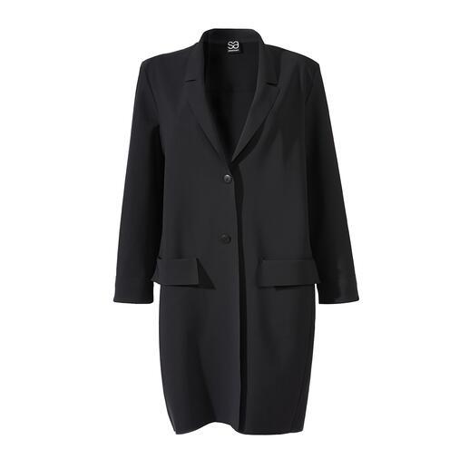 Sassenbach blazermantel Eenvoudig, zwart, minimalistisch en elegant. De modieuze, klassieke blazermantel van Sassenbach.