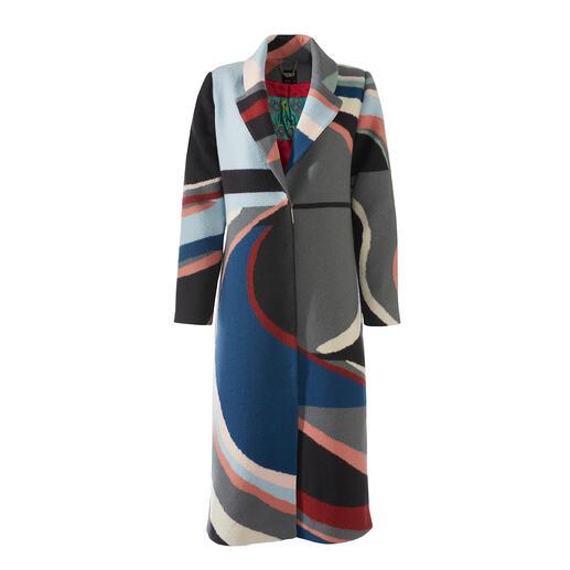 IVKO walkjas met intarsiamotief Wol die bestand is tegen weer en wind. Modieus intarsiamotief. Modieuze maxi-lengte.