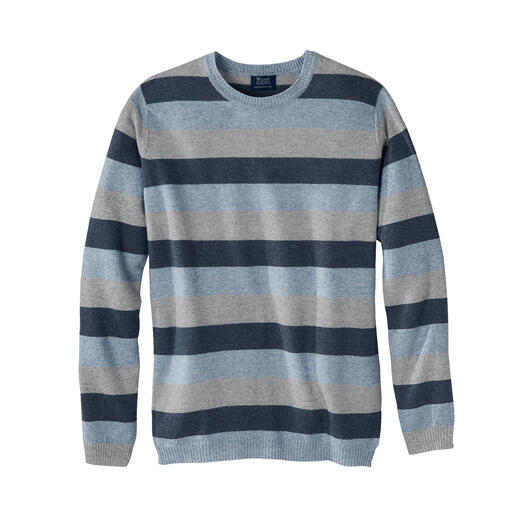 William Lockie trui met blokstrepen Zo zacht als kasjmier, zo luchtig als linnen: unieke combinatie van twee chique natuurvezels.