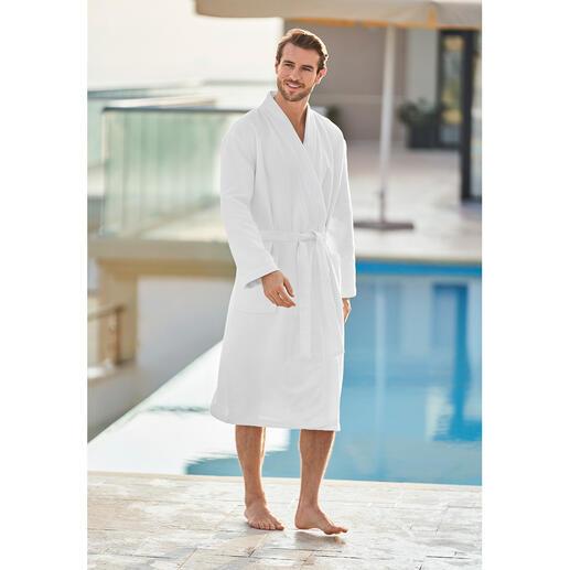 Badjas van badstof met gerstekorrelstructuur Veel lichter en eleganter dan gewone badjassen van badstof, maar net zo absorberend.