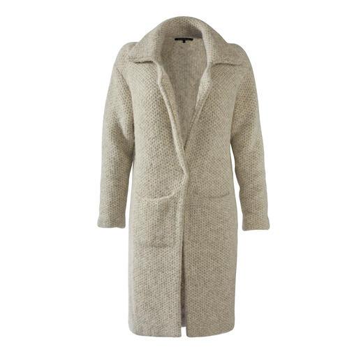 Kero Design gebreide jas van alpaca en Pima-katoen Warm, robuust en vuilafstotend dankzij alpaca. Licht, zacht en vormvast dankzij Pima-katoen.