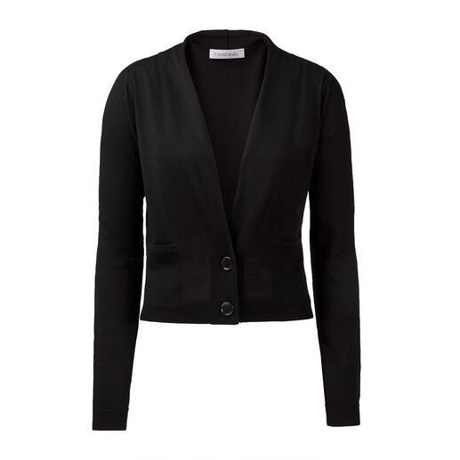 High-waist-vest Minder is meer: korter vest met sjaalkraag dat perfect past bij de moderne mode met hoge taille.